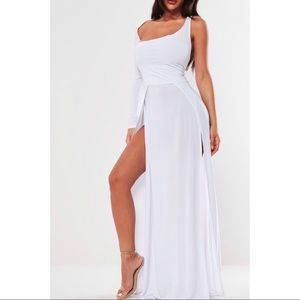 White slinky one shoulder maxi dress